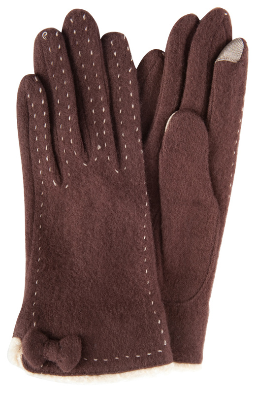 Brown smart gloves with bow and exposed stitching, $30 at Copper Penny