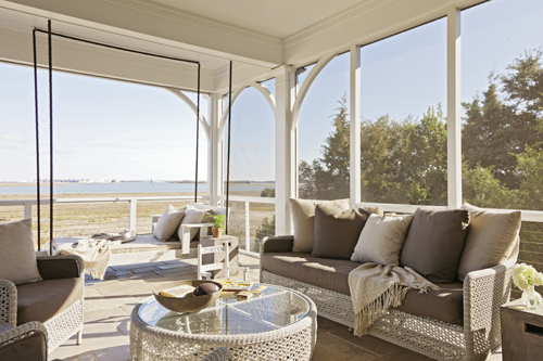 Scenic Living: This front porch looks out on the view that first captured the owners' hearts.