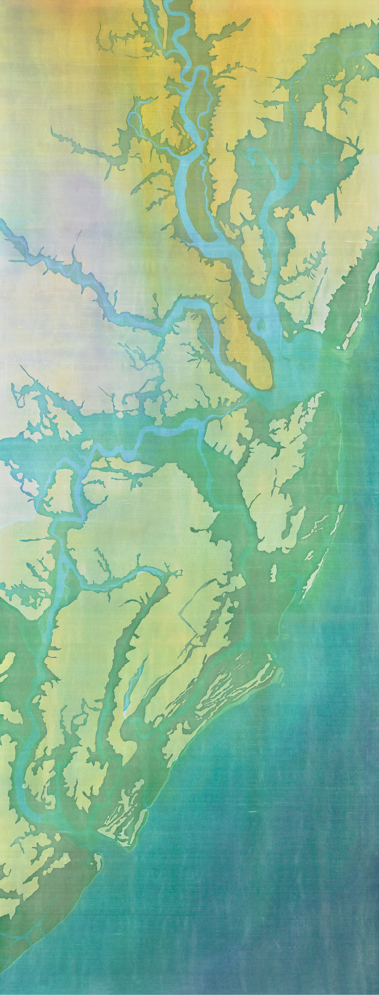 """Nature Acts: Fraser's batik, Charleston Airbourne Flooded (batik on silk, 97 x 35 inches, 2010) depicts NOAA's projections of the Lowcountry's 4.6-foot sea level rise by the year 2100. It will become a 98-foot centerpiece for """"Awakening V"""" as it hangs on the Joseph Floyd Manor with the added words, """"We argue. Nature acts.""""—a play off Voltaire; image courtesy of Mary Edna Fraser"""