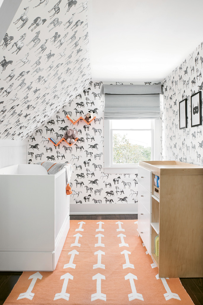 """Sandberg Wallpaper UK's """"Collette"""" for him—helps, as do built-ins rife with books and toys."""