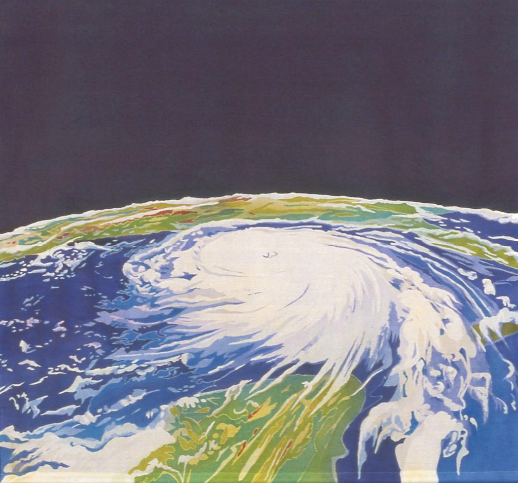 Artistic Eye: Fraser's 2007 batik on silk (50.75 x 53.75 inches) of Hurricane Katrina's destructive swirl evokes its eerie beauty as well; image courtesy of Mary Edna Fraser