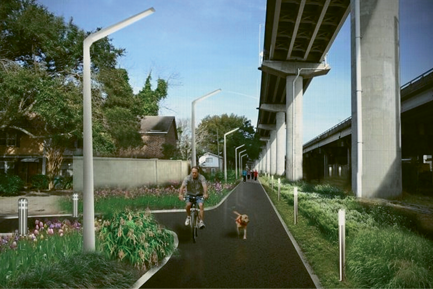An early rendering of what the Low Line could be: Currently barren and blighted, the abandoned Norfolk Southern rail lines that run beneath I-26 through the heart of downtown will be reclaimed and turned into a multi-use linear park, connecting the Neck and the lower peninsula and adding much needed recreational and bike/pedestrian access through what is now no man's land.