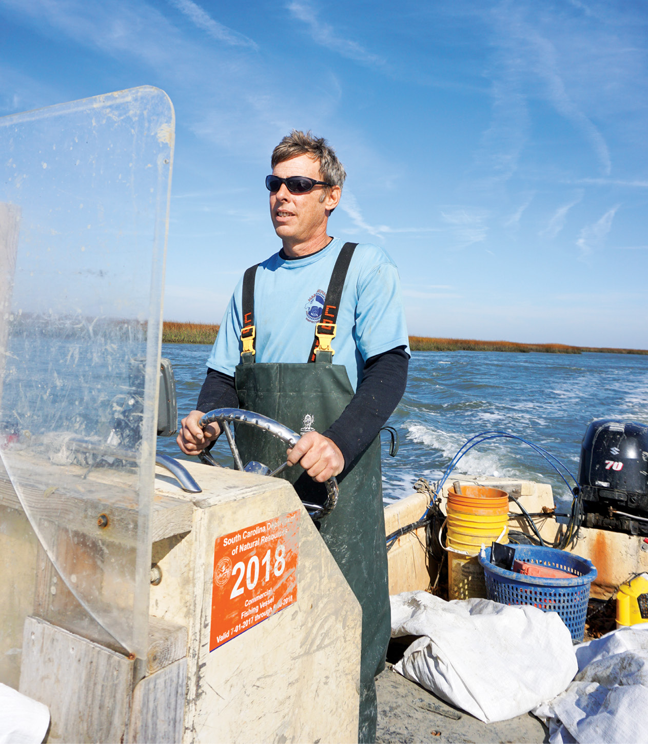 Jeff Spahrand his harvesting team could easily pick 40 bushels of oysters per day, but they typically stop at 10 to 20 bushels in order to keep their beds healthy.