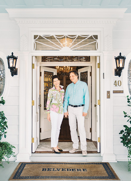 Pamela and Ronald Wyman at the front entrance