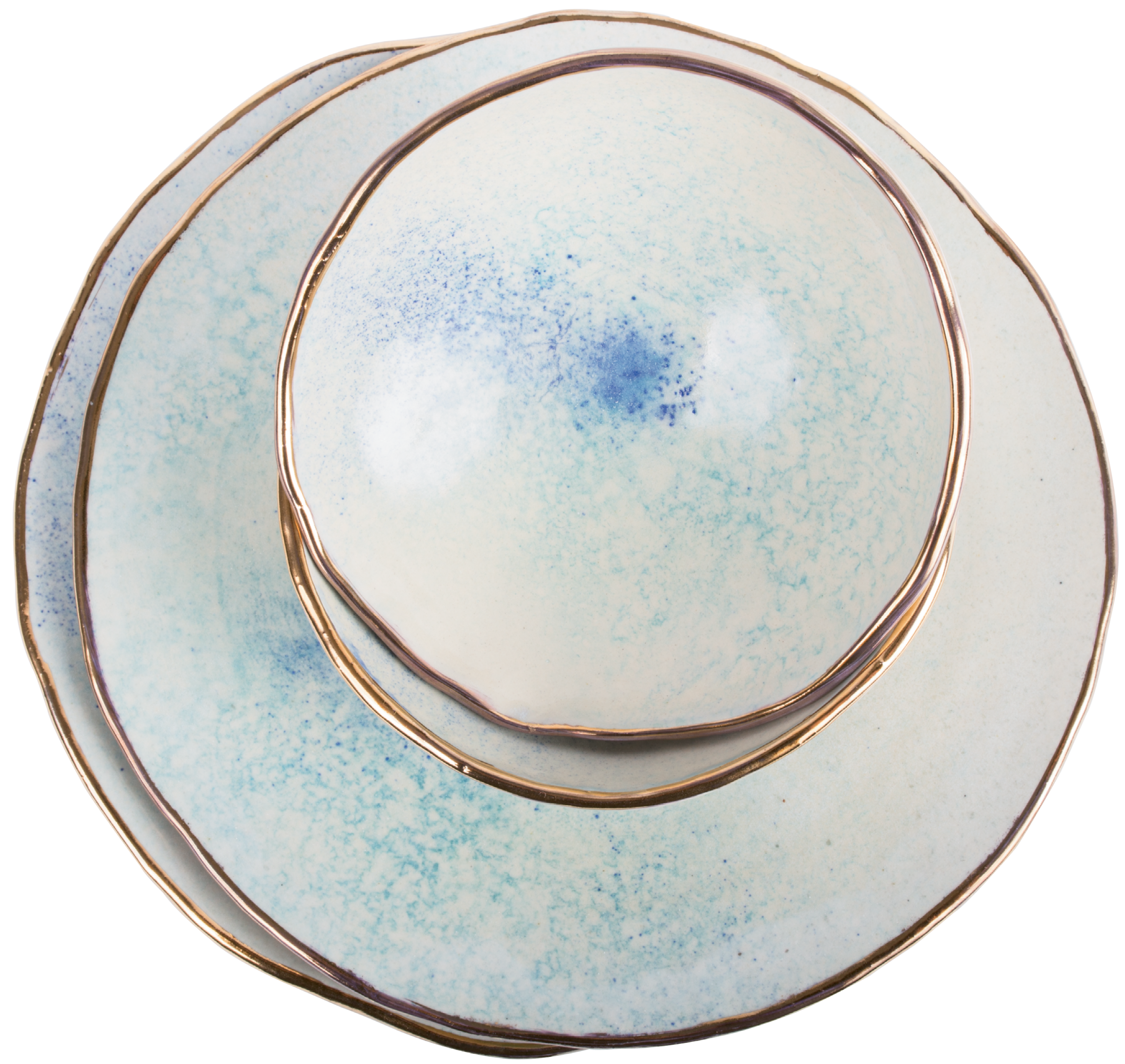 Jennings says she sees the moon in these gold-rimmed pieces from her new dinnerware line.