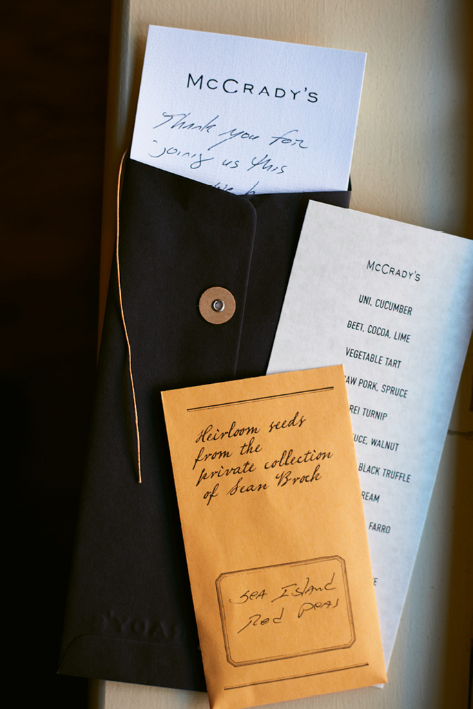Personal touch: Diners leave with a copy of the night's menu, as well as a note and a gift from the chef.