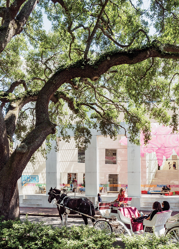 A view of the Telfair Museum's Jepson Center from Jepson Square.