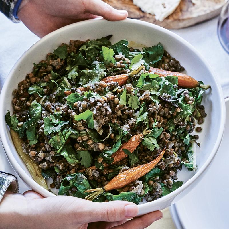 Warm Lentil, Roasted Carrot, & Herb Salad