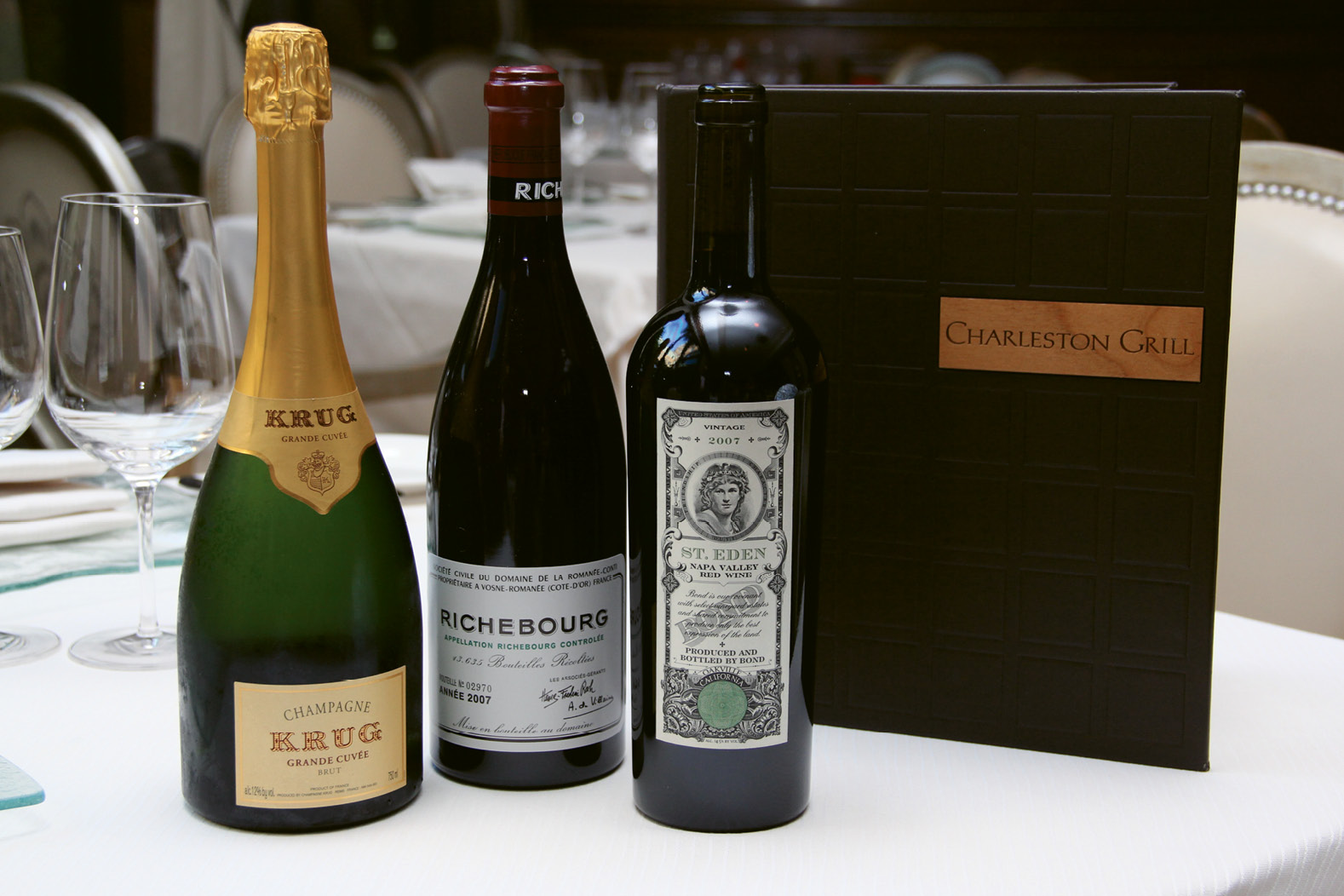"""WINE LIST: Charleston Grill; """"Charleston Grill's list is full of incredible classics, new and old, that Rick has done an amazing job curating. And FIG does a great job of finding gems from smaller producers around the globe.""""  —Kevin Johnson, The Grocery"""