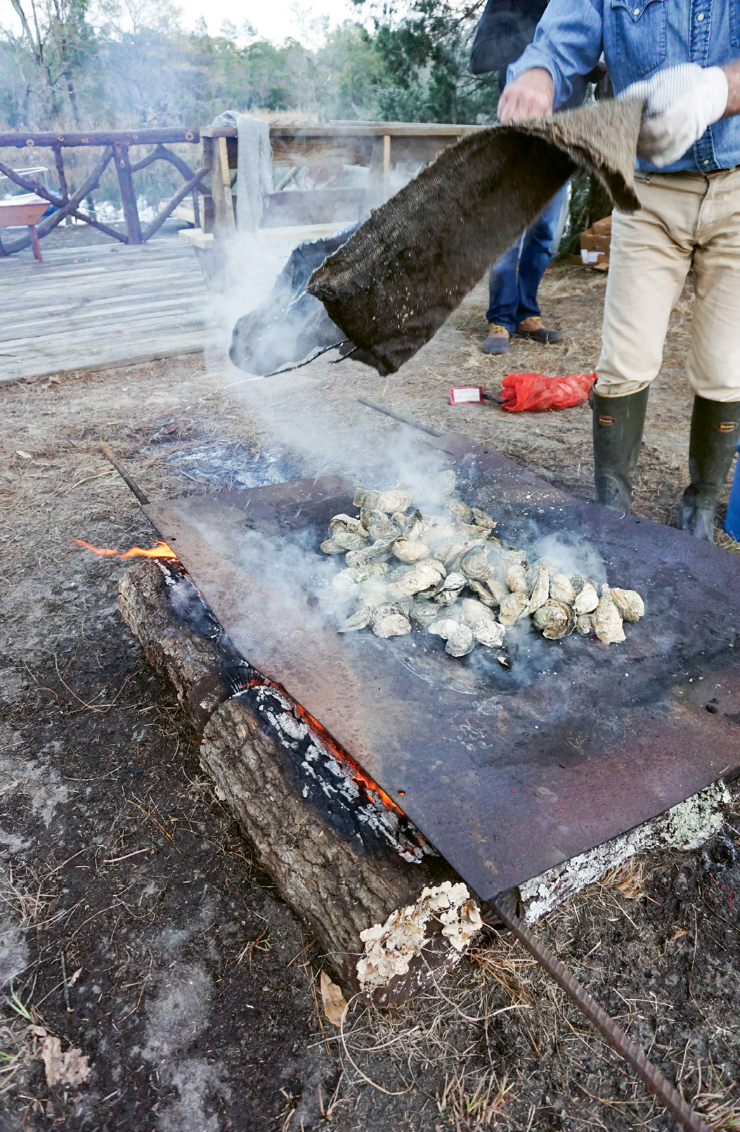 Bull Point Plantation oyster roast in Seabrook, South Carolina.