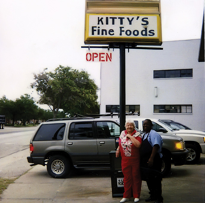 """Miss Kitty with Martha Grant in the 1990s; Grant later acquired Miss Kitty's and paid homage to its 40-year-old heritage by renaming it """"Kitty's Diner."""""""