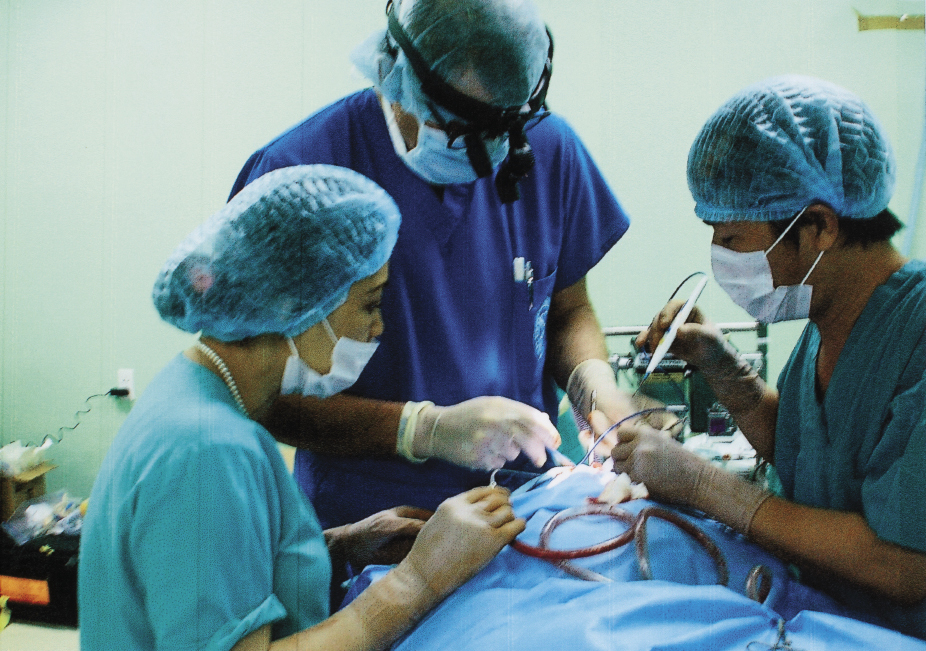Hagerty performing cleft-palate surgery at a teaching hospital in Vietnam in 2009
