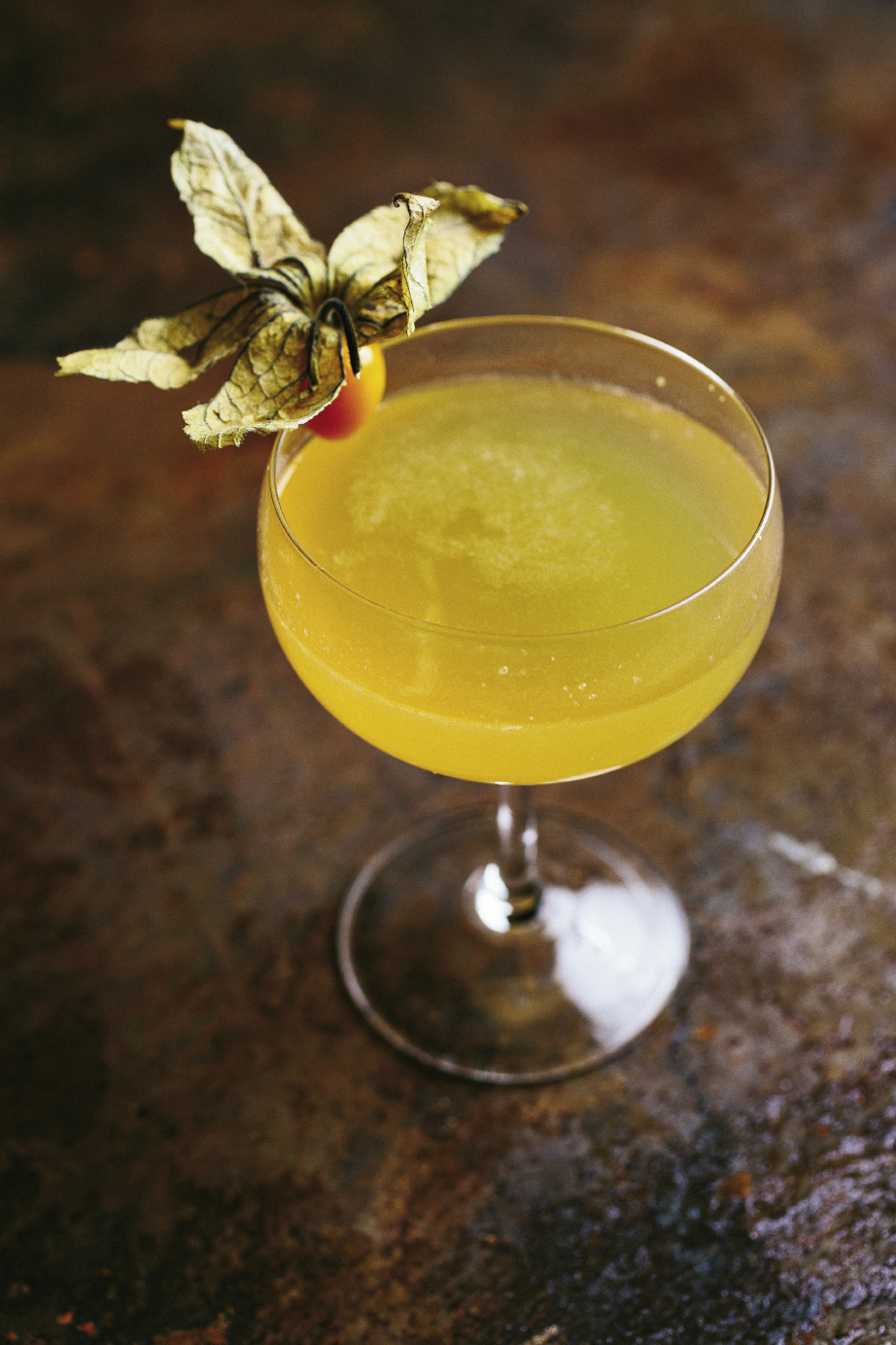 """The Gin Joint is renowned  for its craft cocktails, and bartender Jamie Bolt mixed up some special concoctions for the appreciative F&B crowd. This gorgeous cocktail, dubbed """"The Death Grip,"""" is slightly tart and sweet with St. George Terroir Gin and apricot eau-de-vie. Get the recipe at charlestonmag.com/LeadingLadies."""