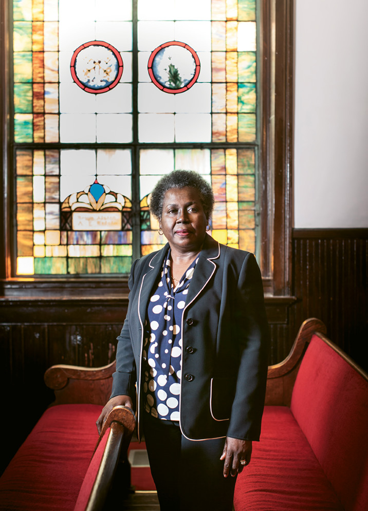 """Rev. Dr. Betty Deas Clark continues to help the congregation of Emanuel AME Church heal. """"We are more than the tragedy,"""" she says. """"As followers of Jesus Christ, we are people of hope."""" Photograph by Gately Williams"""