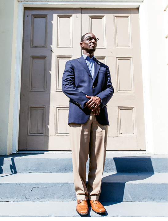 Like Family: Rev. Dr. Kylon Middleton was like a brother to Clementa Pinckney. The two grew up going to AME youth leadership events, both graduated from the same divinity school, and both were ordained in the AME church. Shortly after Pinckney's death, Middleton was called to pastor Mount Zion AME Church on Glebe Street, the daughter church to Mother Emanuel, where he now works to further the social justice issues so important to his friend, brother, and colleague. Photograph by Gately Williams