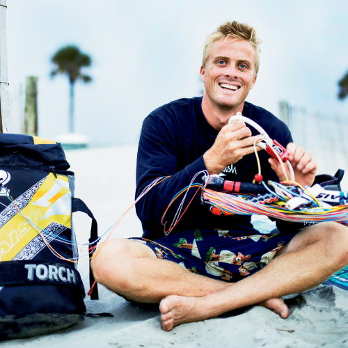 "Charleston native Davey Blair has travelled the globe for more than a decade seeking wind, waves, and thrills. Shown riding a light breeze back home on the harbor, the ever-positive pro says, ""No matter what, it's always fun just being on the water."""
