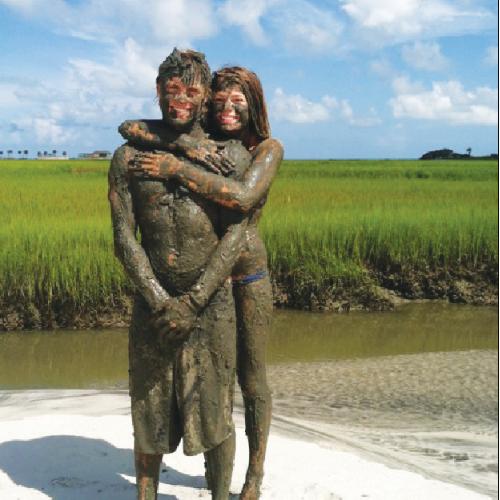 """Having a """"Chucktown bath"""" with Becky on the Folly River"""