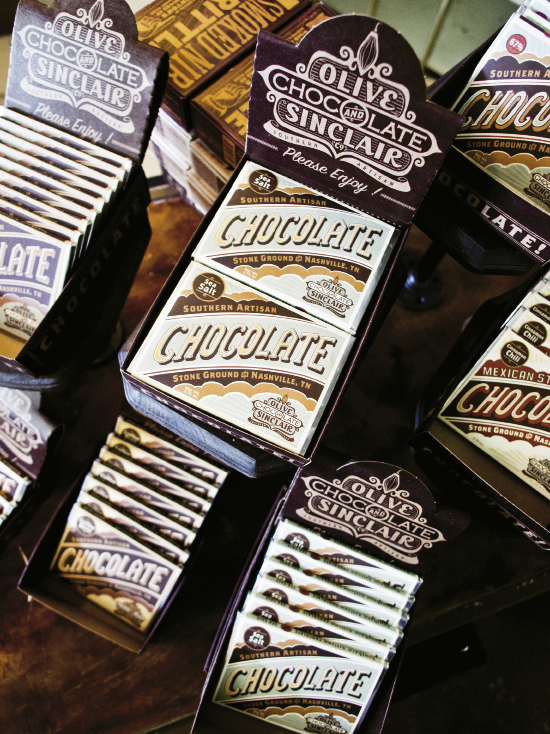 Cocoa beans to bars—some of the stock at Olive & Sinclair