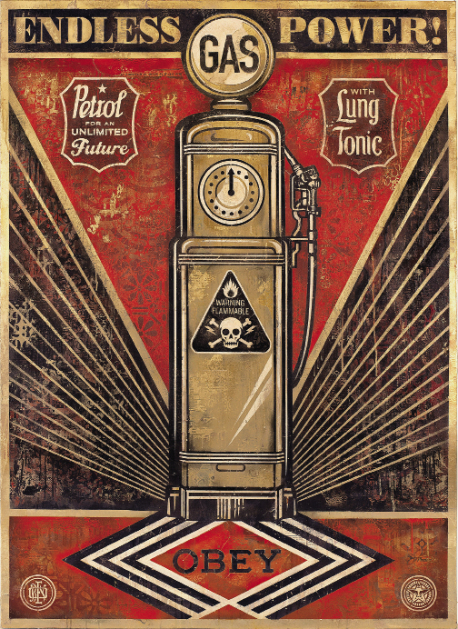 Endless Power by Shepard Fairey, 2013, mixed-media painting on canvas, 44 x 60 inches