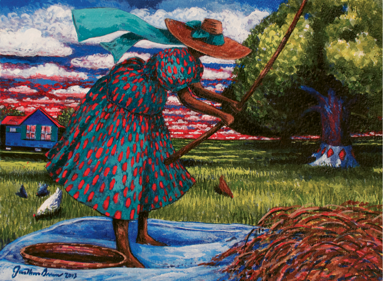 Hulling Home Rice (acrylic on watercolor, 11 X 14 1/2 inches, 2012)