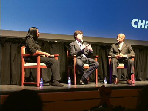 """Ken Burns (center) and Henry Louis Gates Jr. at the Gaillard Center for """"American Fault Line,"""" a conversation moderated by Carolina Youth Development director Barbara Kelly Duncan (left) Photograph by Stephanie Hunt"""