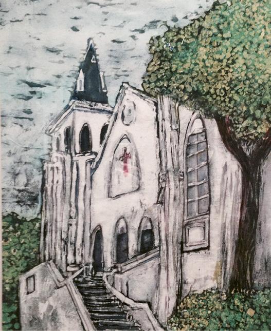 "Arianne King Comer's Mother Emanuel batik for ""The Holy City"" art show"