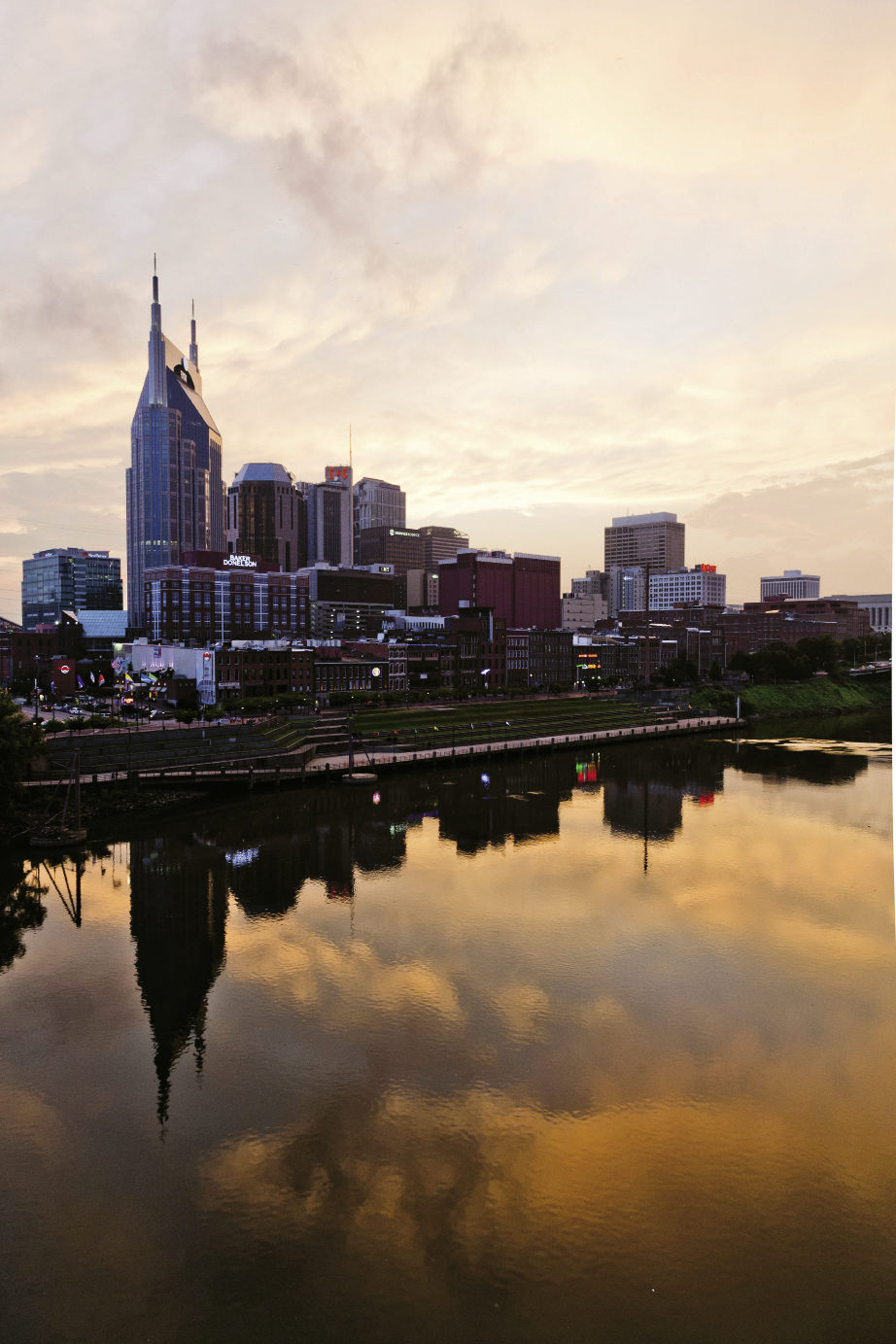 A sunset view of Music City across the Cumberland River