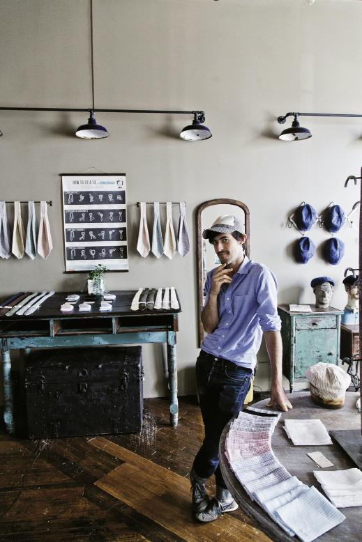 Designer Otis James in his studio showroom