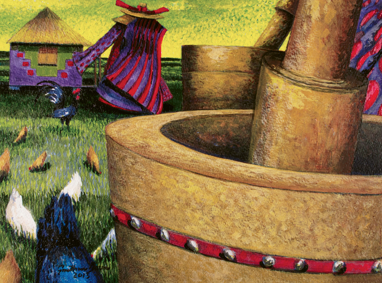 Pestle and Mortar (acrylic on watercolor, 11 X 14 1/2 inches, 2012)
