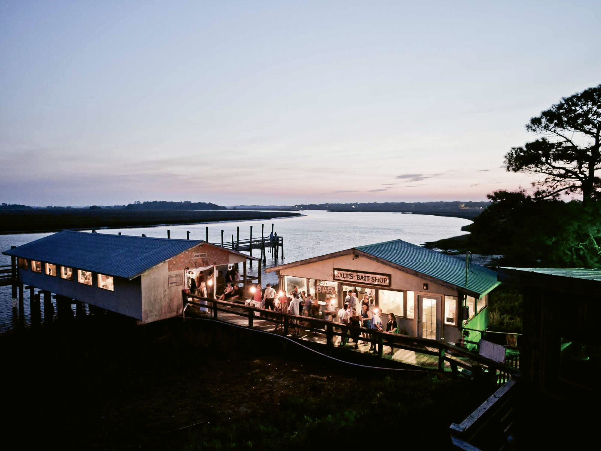 Rebuilt and better than ever, Bowens Island Restaurant continues to serve up great beer, seafood, and Intracoastal views; photograph by Peter Frank Edwards