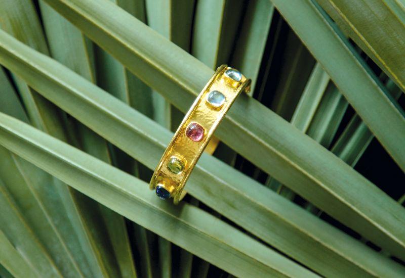 "Elizabeth Locke 19K yellow-gold ""Tutti Frutti Studded Bangle,"" $8,550 at Croghan's Jewel Box"