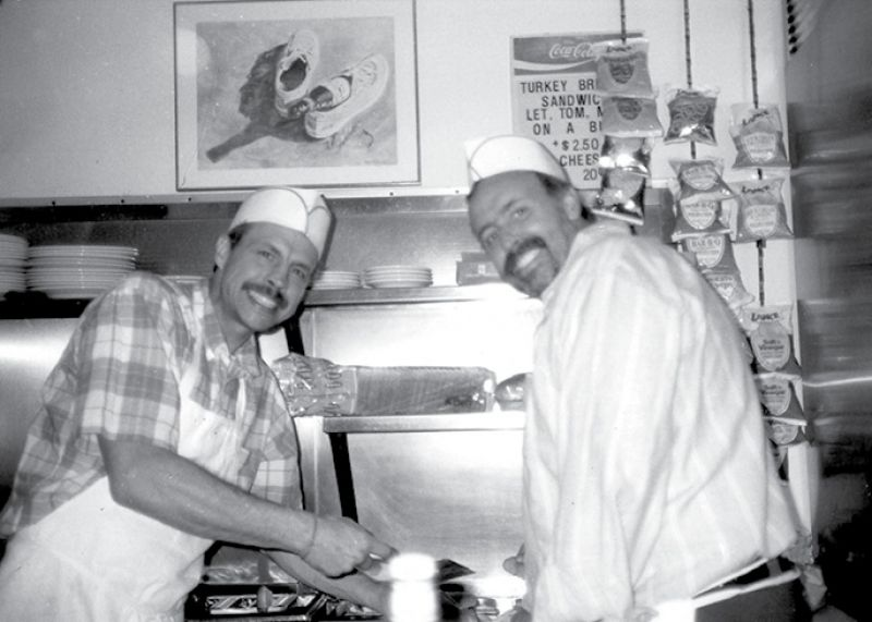 Brothers C.M. and Cliff Williams in the Goodie House kitchen in the 1970s