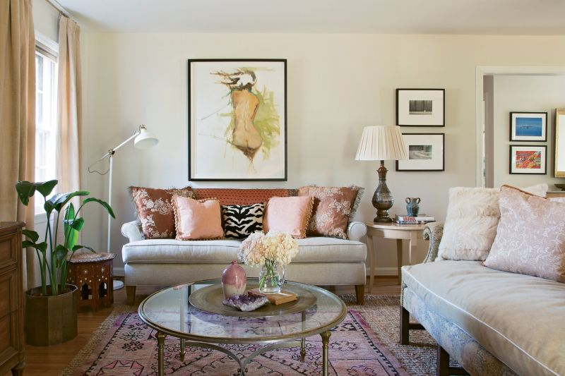 PERSONAL SPACE: When Charleston County Treasurer Mary Tinkler enlisted designer Erin Glennon to help overhaul her mid-century ranch, she wound up with a feminine retreat filled with meaningful pieces, including artwork collected over time and vintage furnishings that reflect her love of history.