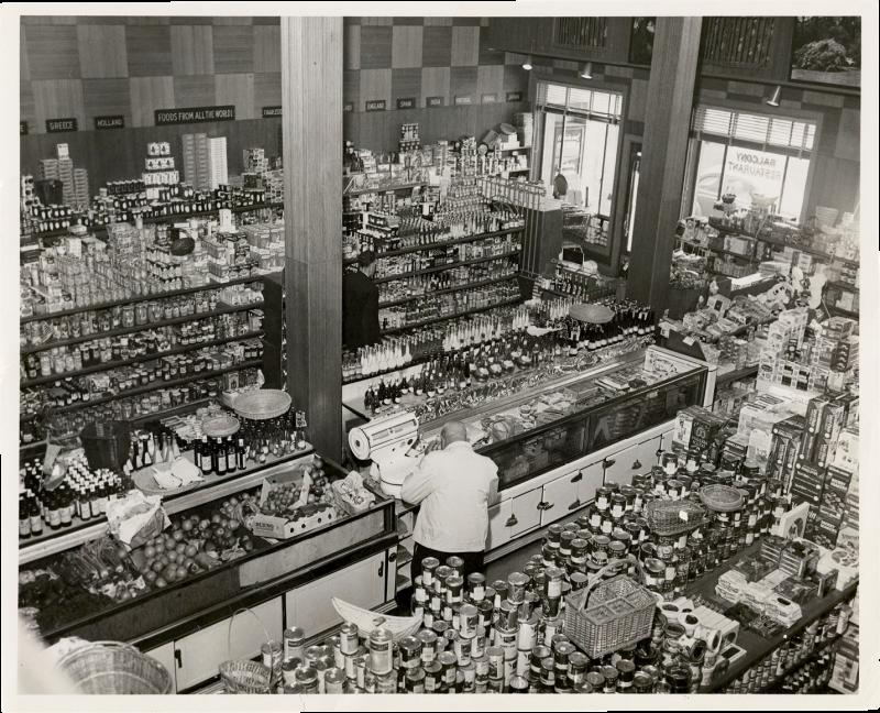 Part-deli, part gourmet foods store, part restaurant: Harold's Cabin on Wentworth Street in 1954