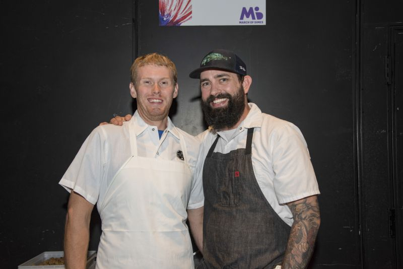 Chef Jacob Huder of The Macintosh with his sous chef during the event