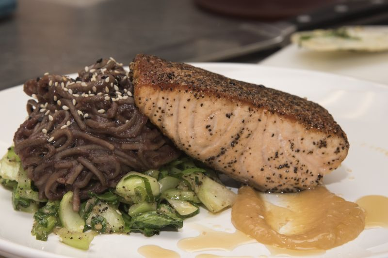 Salmon with miso cream sauce and soba noodle stir fry