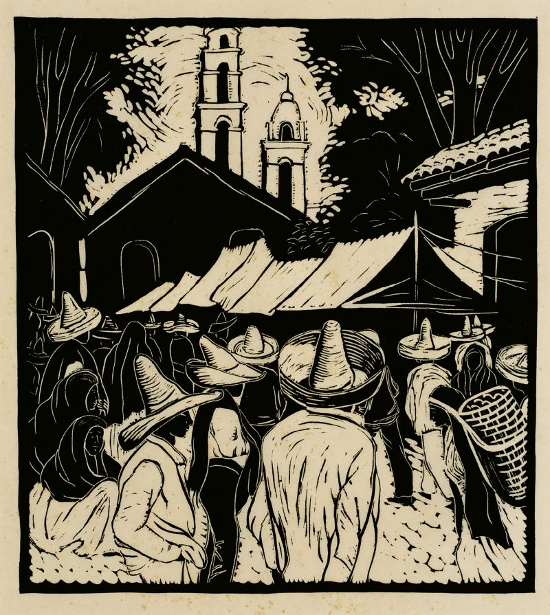 "The artist traveled throughout Mexico from June 1935 to September 1936, capturing the culture and day-to-day lives of its residents in pieces, such as this ""white line"" woodblock print, Mexican Marketplace (circa 1935)."