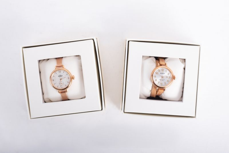 """Shinola """"The Birdy"""" mesh bracelet watch, $525, and """"The Birdy"""" leather band watch, $525, both available at M. Dumas & Sons"""