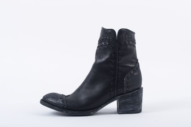 """Crither Toe"" boot in ""black stingray,"" $580 at Out of Hand"