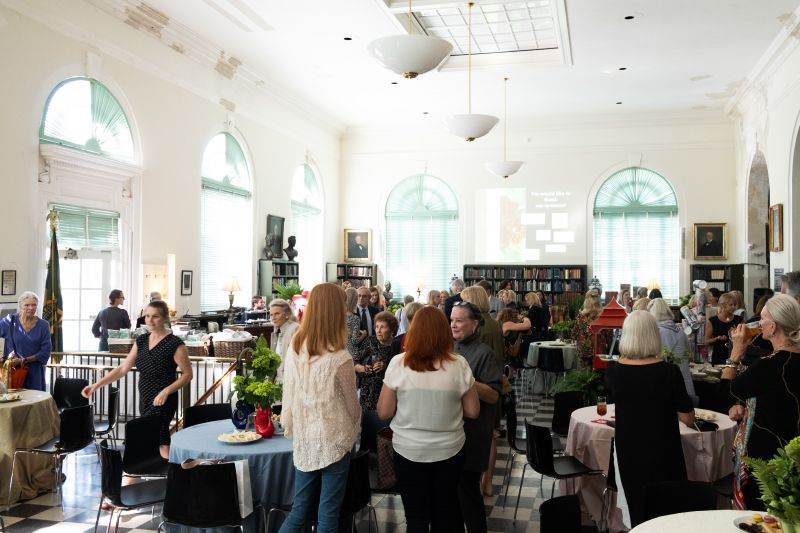 Social hour commenced upon guests' arrival at the library.