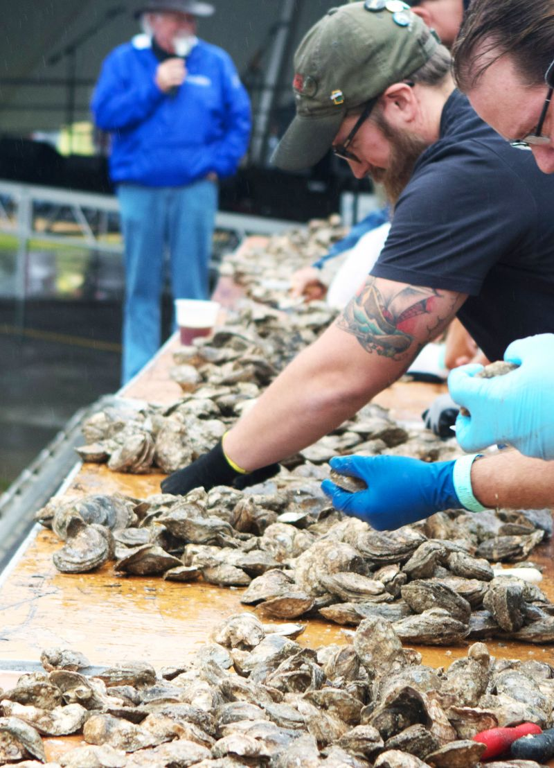 Competition was fierce in the oyster-shucking showdown, hosted by Blue Point Brewing Company.