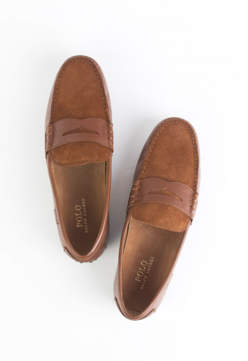 "Polo Ralph Lauren, ""Wes"" Calfskin Suede driver in ""deep saddle tan/new snuff"", $100 at Belk"