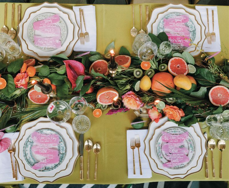 Citrus and tropical edibles appeared everywhere, from the luscious table runner...