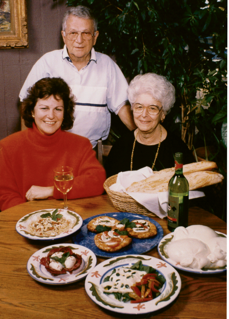 Celia Cerasoli with her parents, Arnold and Tina, who inspired her recipes and helped open the restaurant.