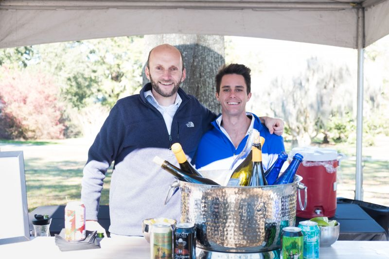 David Cosgrove and Ben Gaither of Holy City Brewing served local wines and beers to parched guests