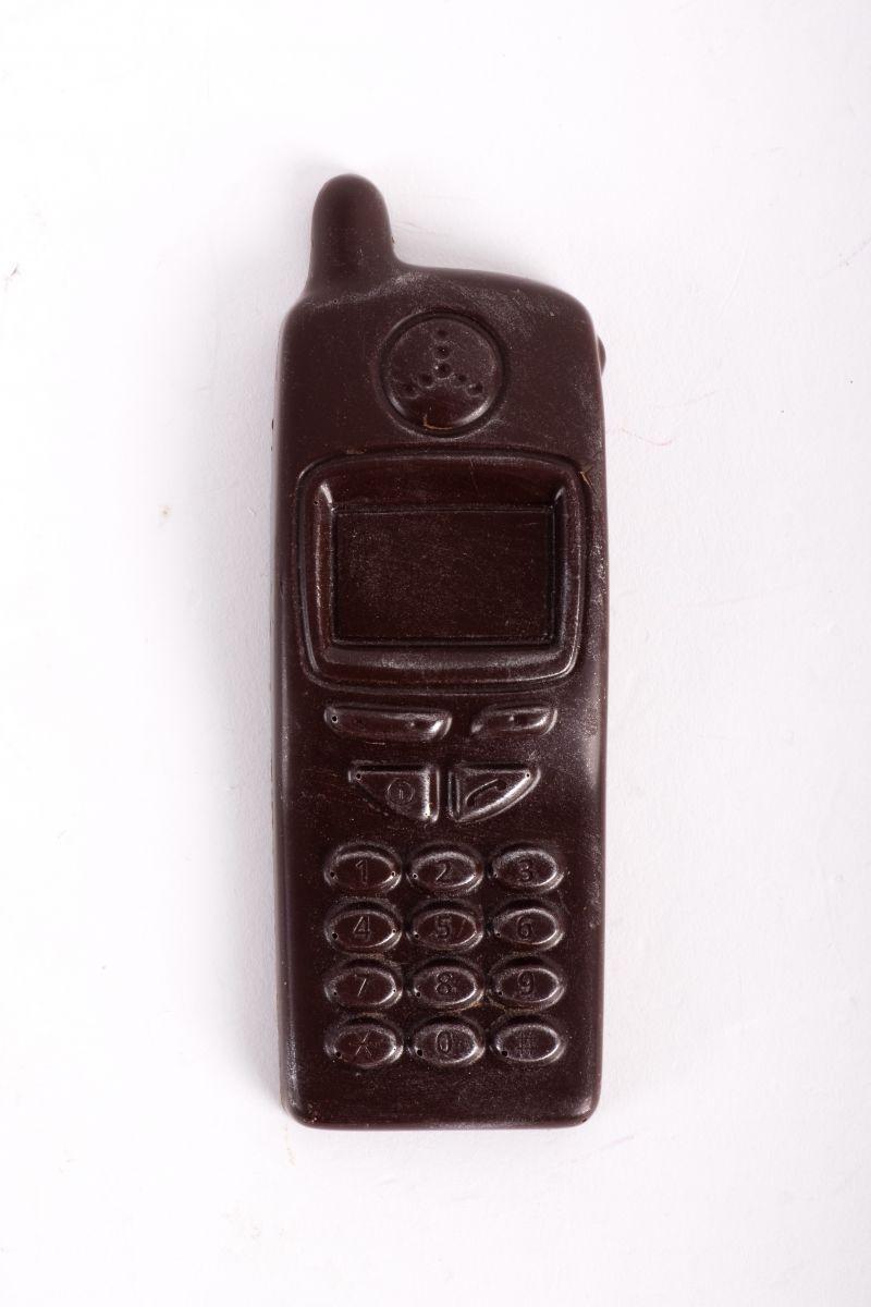 "Milk chocolate ""retro phone,"" $6 at Christophe Artisan Chocolatier"