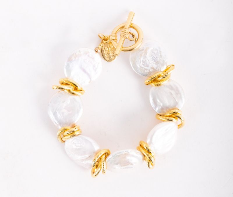 """Susan Shaw """"Coin Pearl"""" bracelet, $112 at Jude Connally"""